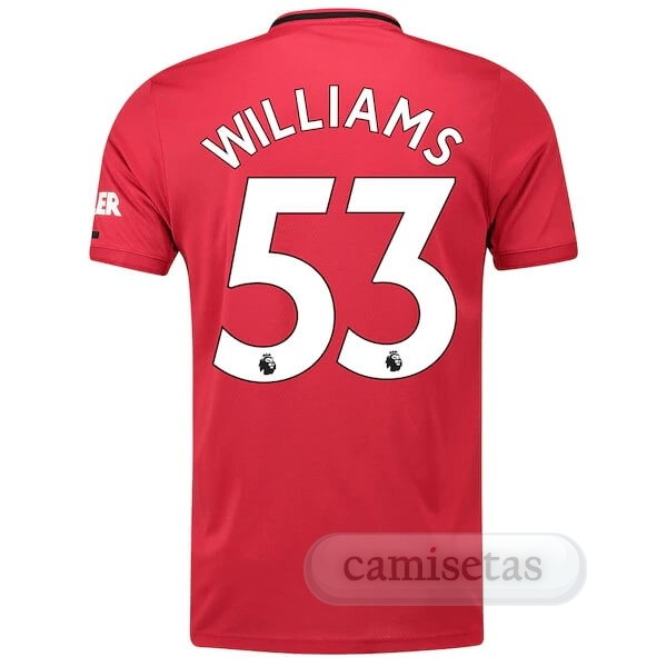 Futbol Barata adidas NO.53 Williams Casa Camiseta Manchester United 2019 2020 Rojo